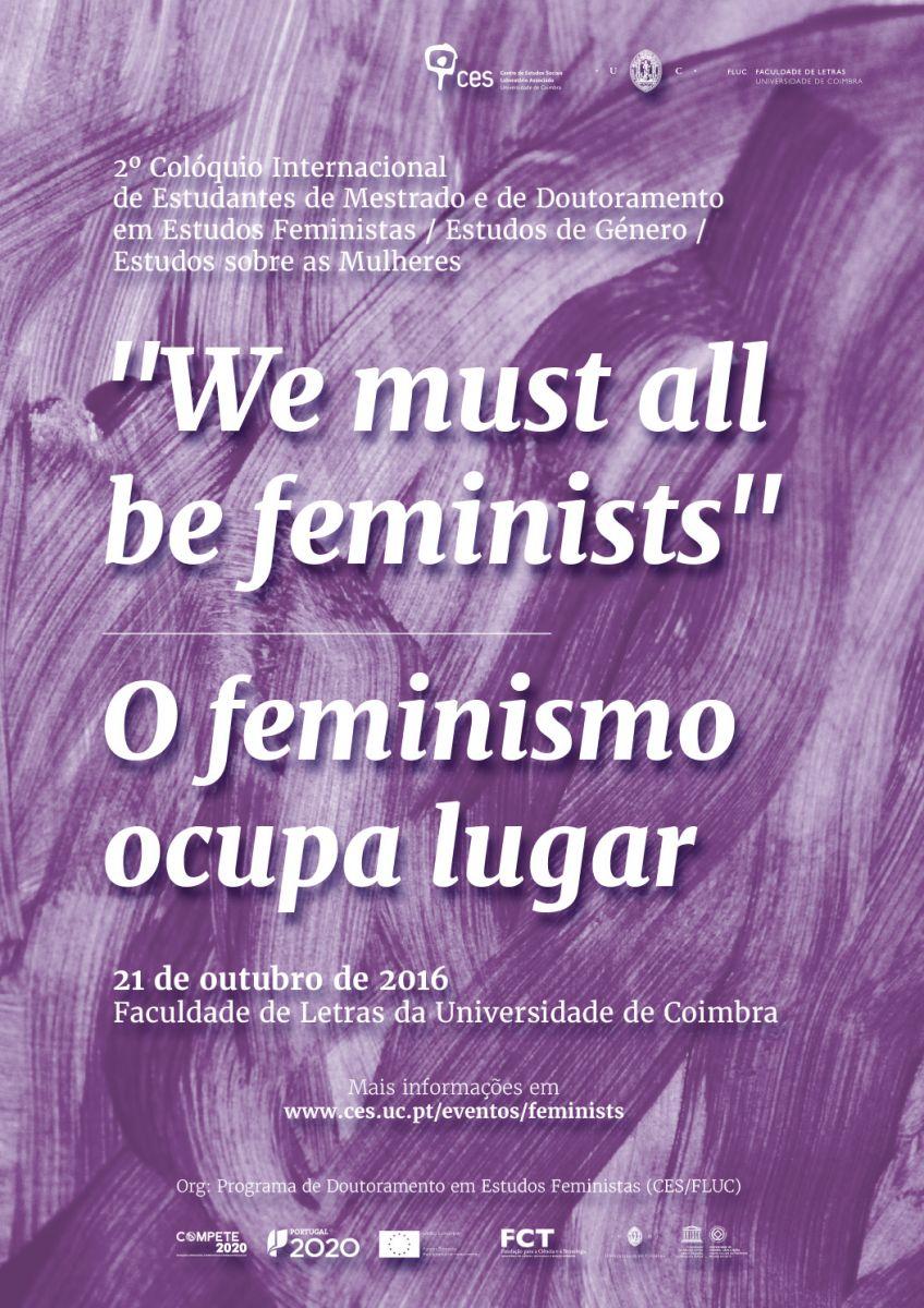 CFP: 2º Colóquio Internacional de Estudantes de Mestrado e de Doutoramento em Estudos Feministas / Estudos de Género / Estudos sobre as Mulheres, Coimbra, 21 octubre 2016.