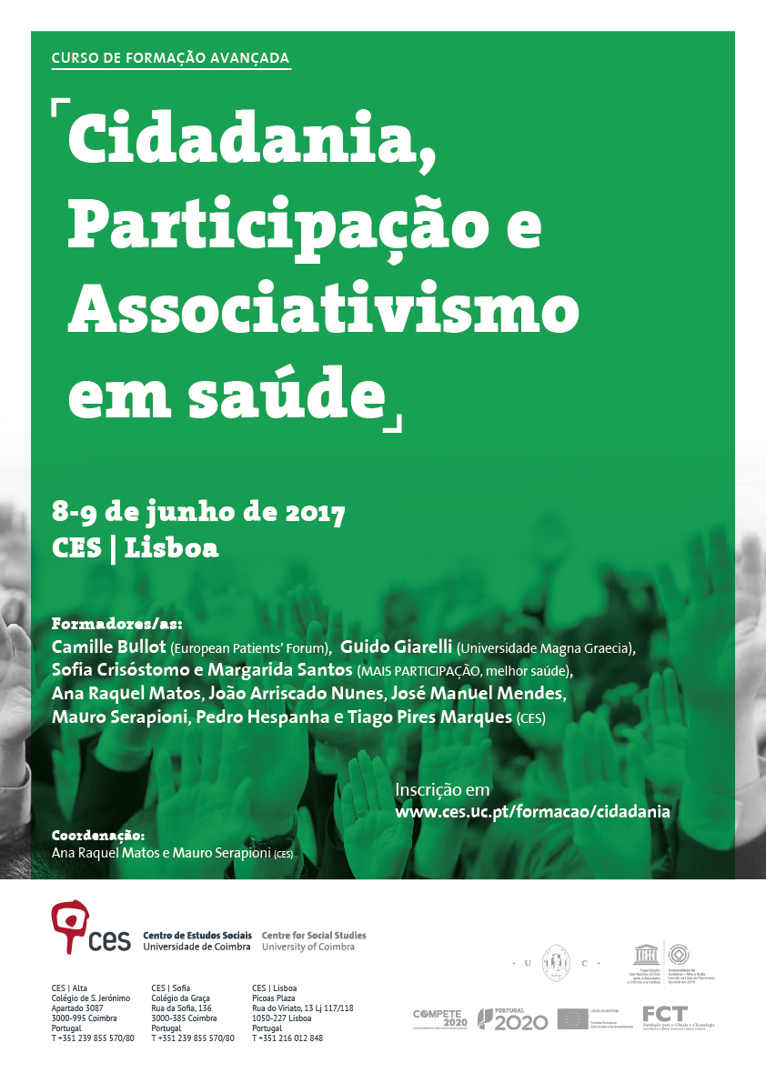 "Citizenship, Participation and Associativism in Health<span id=""edit_16754""><script>$(function() { $('#edit_16754').load( ""/myces/user/editobj.php?tipo=evento&id=16754"" ); });</script></span>"