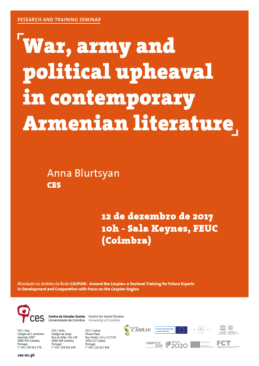 "War, army and political upheaval in contemporary Armenian literature<span id=""edit_17985""><script>$(function() { $('#edit_17985').load( ""/myces/user/editobj.php?tipo=evento&id=17985"" ); });</script></span>"