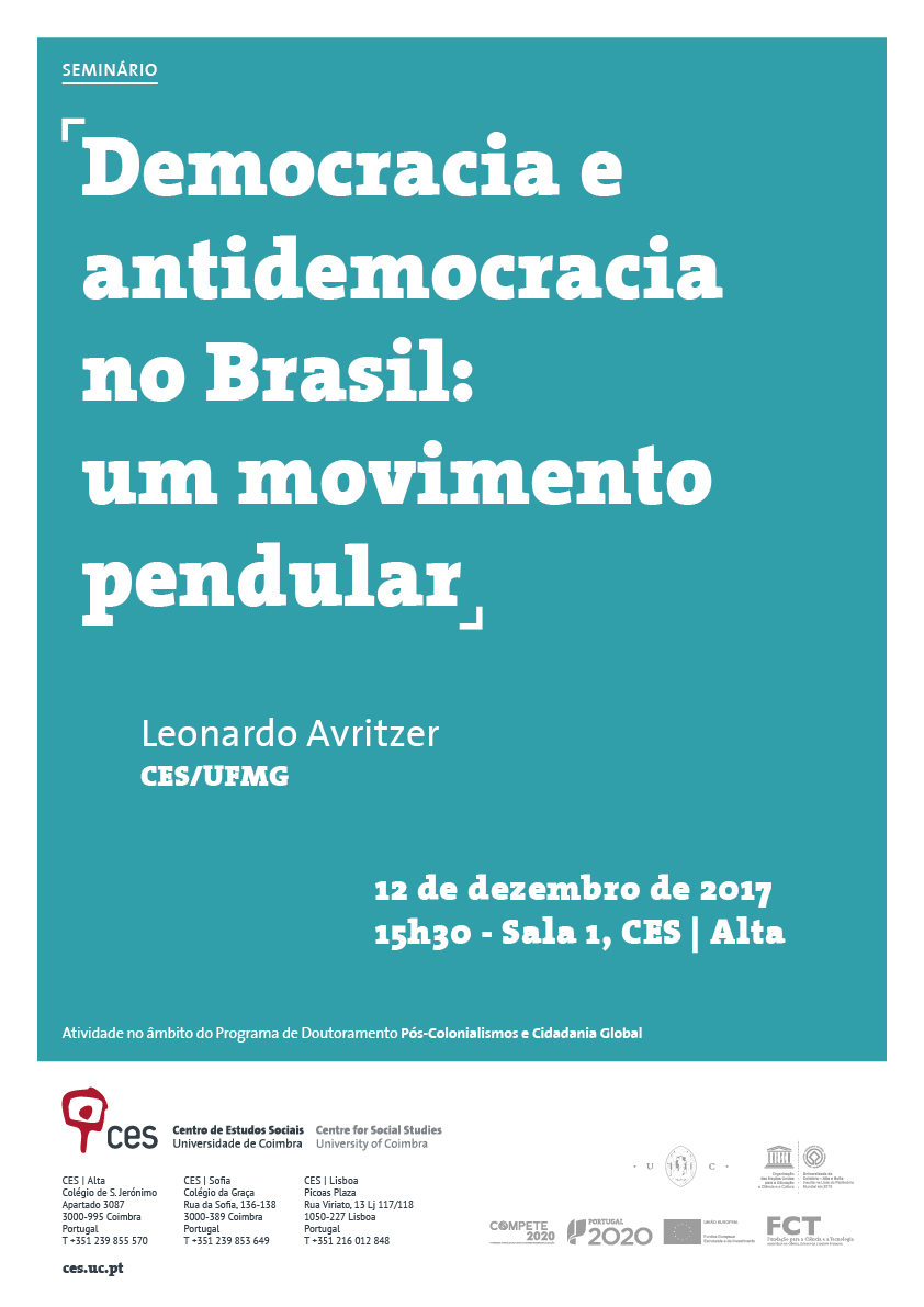 "Democracy and anti-democracy in Brazil: a pendular movement<span id=""edit_18250""><script>$(function() { $('#edit_18250').load( ""/myces/user/editobj.php?tipo=evento&id=18250"" ); });</script></span>"