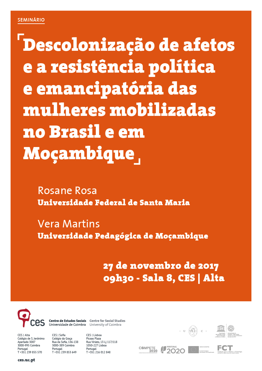"""Decolonisation of affections and the political and emancipatory resistance of women mobilised in Brazil and in Mozambique<span id=""""edit_18516""""><script>$(function() { $('#edit_18516').load( """"/myces/user/editobj.php?tipo=evento&id=18516"""" ); });</script></span>"""