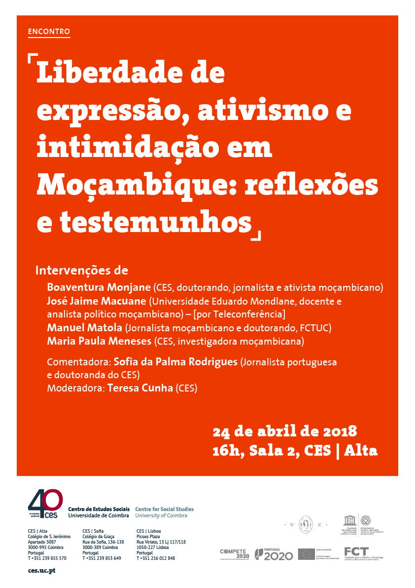 """Freedom of expression, activism and intimidation in Mozambique: reflections and testimonies<span id=""""edit_19625""""><script>$(function() { $('#edit_19625').load( """"/myces/user/editobj.php?tipo=evento&id=19625"""" ); });</script></span>"""