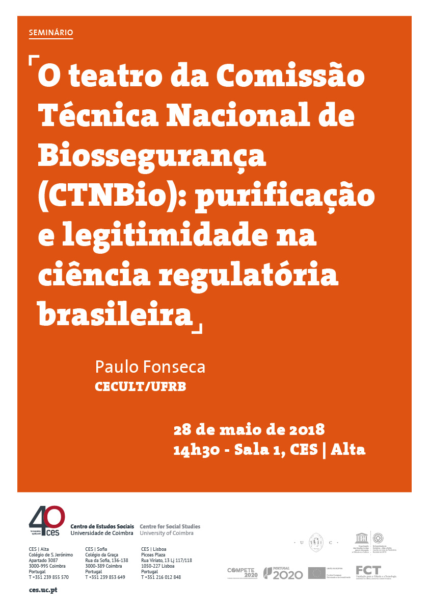 "The theater of the National Technical Biosafety Commission (CTNBio): purification and legitimacy in Brazilian regulatory science<span id=""edit_19780""><script>$(function() { $('#edit_19780').load( ""/myces/user/editobj.php?tipo=evento&id=19780"" ); });</script></span>"