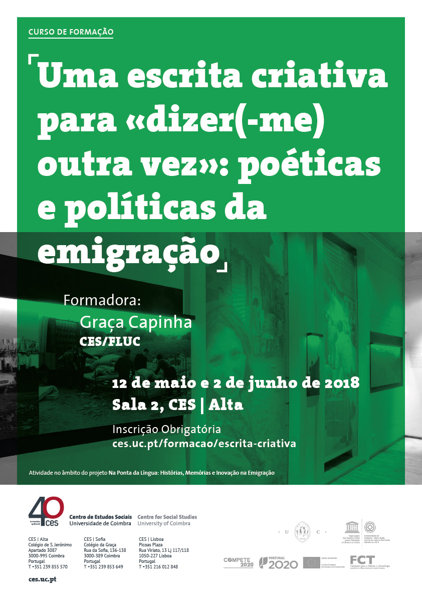"""A creative writing to «tell (me) again»: poetics and politics of emigration<span id=""""edit_19814""""><script>$(function() { $('#edit_19814').load( """"/myces/user/editobj.php?tipo=evento&id=19814"""" ); });</script></span>"""