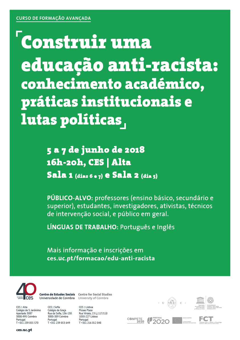 "Building an anti-racist education: academic knowledge, institutional practices and political struggles<span id=""edit_19919""><script>$(function() { $('#edit_19919').load( ""/myces/user/editobj.php?tipo=evento&id=19919"" ); });</script></span>"