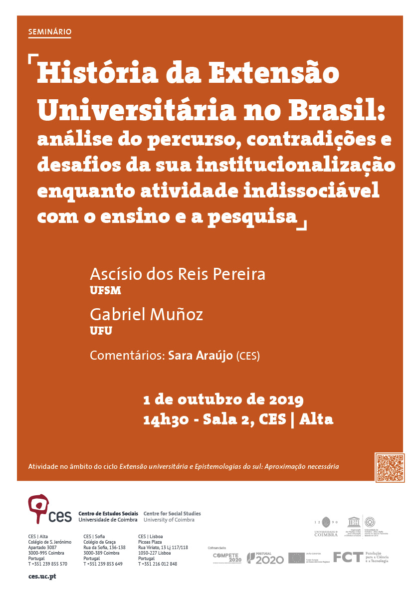 "History of University Outreach in Brazil: analysis of the course, contradictions and challenges of its institutionalisation as an activity inseparable from teaching and research<span id=""edit_25740""><script>$(function() { $('#edit_25740').load( ""/myces/user/editobj.php?tipo=evento&id=25740"" ); });</script></span>"