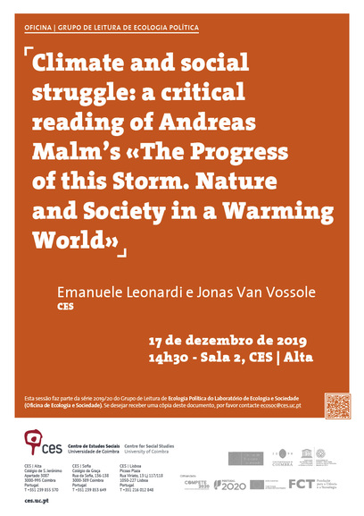 "Climate and social struggle: a critical reading of Andreas Malm's «The Progress of this Storm. Nature and Society in a Warming World»<span id=""edit_26379""><script>$(function() { $('#edit_26379').load( ""/myces/user/editobj.php?tipo=evento&id=26379"" ); });</script></span>"
