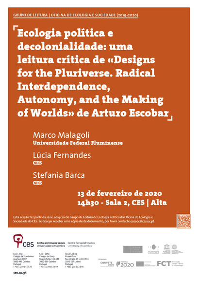 "Ecologia política e decolonialidade: uma leitura crítica de «Designs for the Pluriverse. Radical Interdependence, Autonomy, and the Making of Worlds» de Arturo Escobar<span id=""edit_26382""><script>$(function() { $('#edit_26382').load( ""/myces/user/editobj.php?tipo=evento&id=26382"" ); });</script></span>"